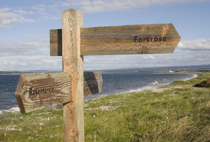 Sign post at Rosemarkie beach