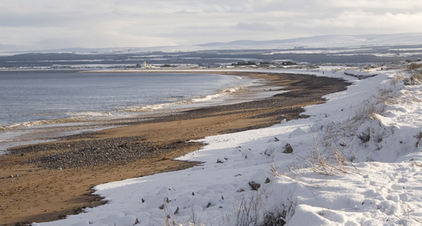 Rosemarkie Beach first real snow of winter