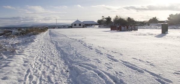 Rosemarkie Campsite in the snow