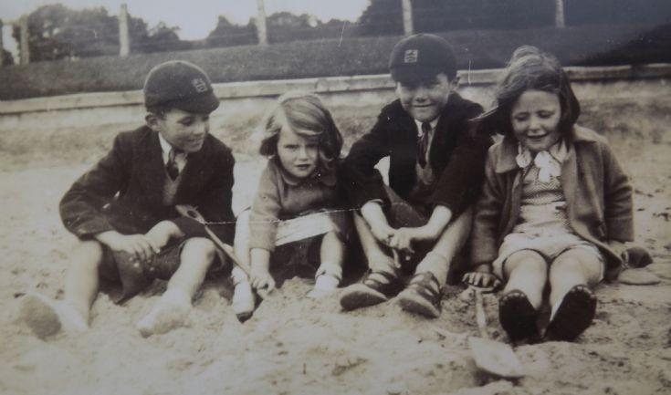 Children on Rosemarkie Beach circa 1945