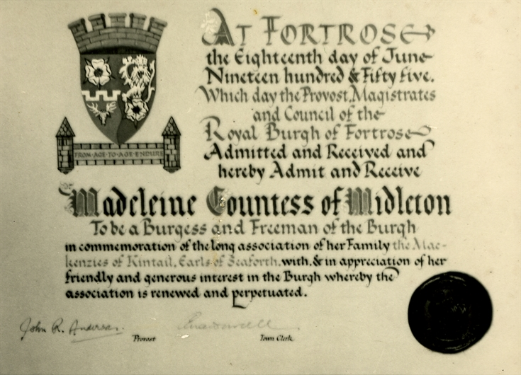 Freedom of Fortrose certificate